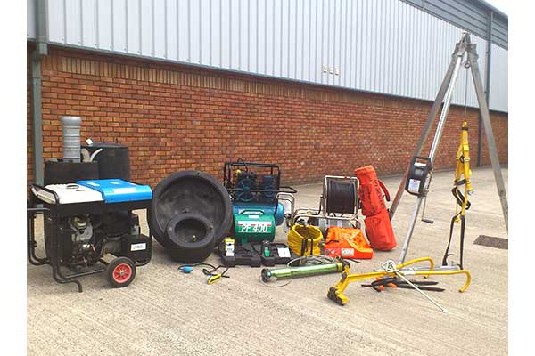 Confined space entry equipment and lighting