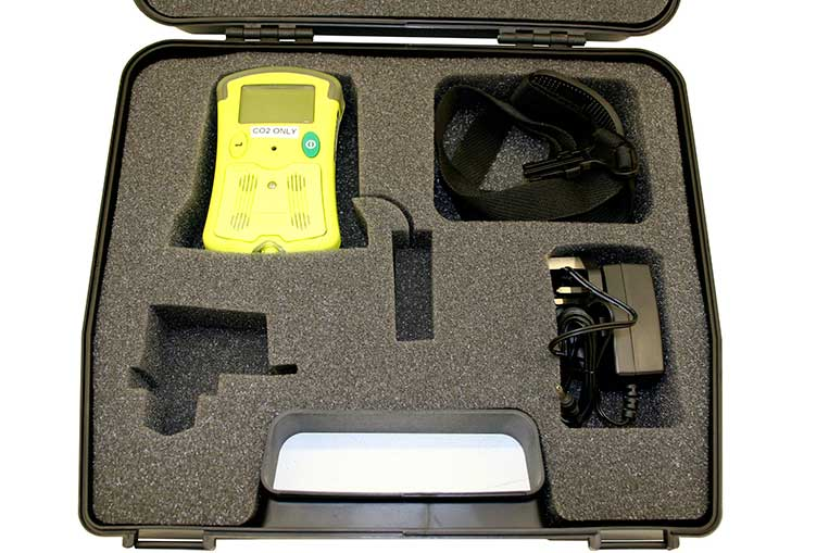 GMI CO2 Monitor packed into case