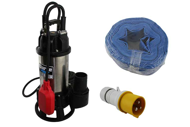 "Clarke 2"" Submersible Pump, Layflat hose and 110v Plug"