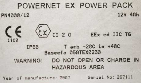 Lighting Equipment ATEX Label