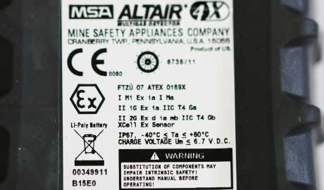 Gas Detector ATEX Label